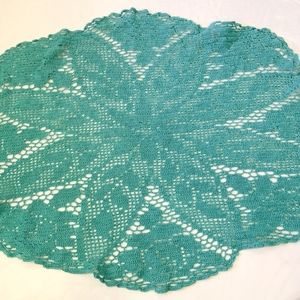 Vintage turquoise hand crocheted large doily